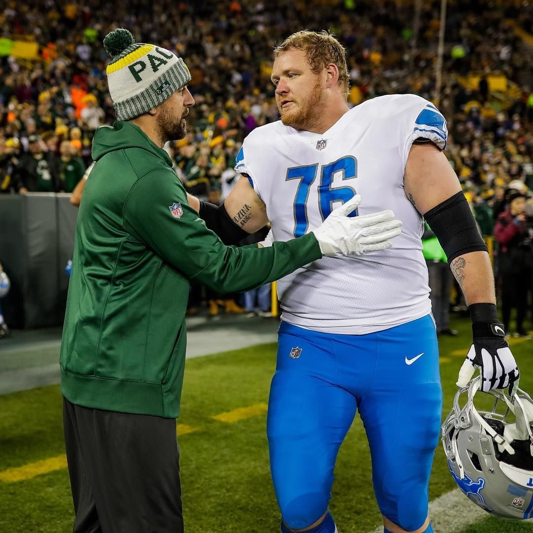 Aaron And Former Teammate Tj Lang Lang Looks Weird In A Lions Uniform Packers Baby Green Bay Packers Aaron Rodgers