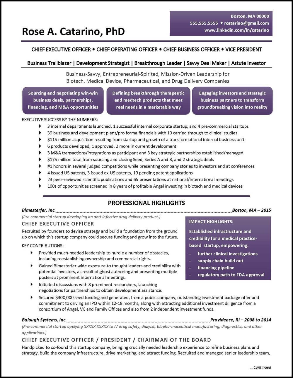 Example Executive Resume Pharmaceutical Drug Development