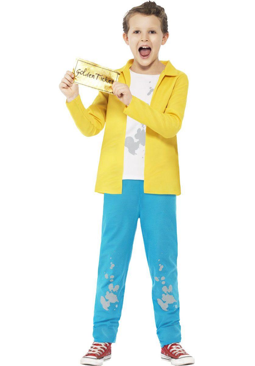 Child Roald Dahl Golden Ticket Willy Wonka Bar Costume Book Week Day Fancy Dress