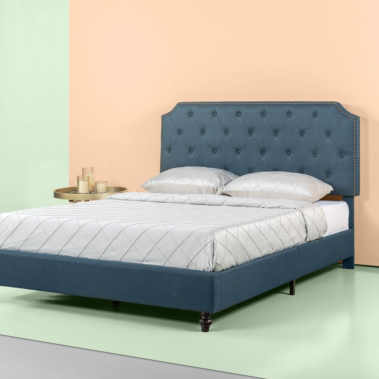 This classic upholstered platform bed by Zinus will
