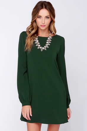 86fab8ecb Perfect Situation Dark Green Long Sleeve Shift Dress in 2019 | My ...