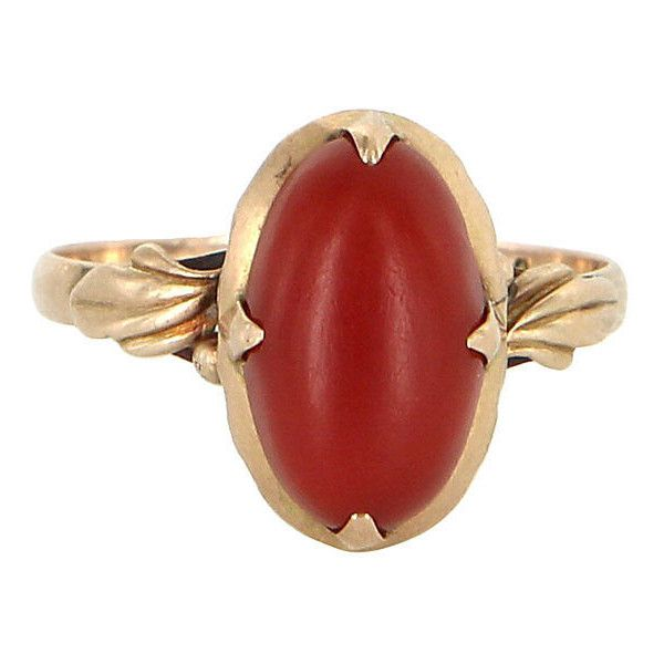 Pre-Owned Mediterranean Red Coral Cocktail Ring (€610) ❤ liked on Polyvore