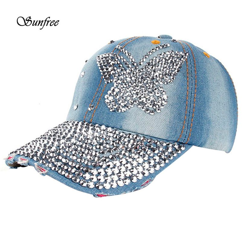 2017 Caps Women Men Butterfly Denim Rhinestone Baseball Cap Snapback ... d96abea92067