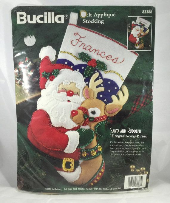 1996 Bucilla Christmas Stocking Kit - Santa and Rudolph #83388 - Kit