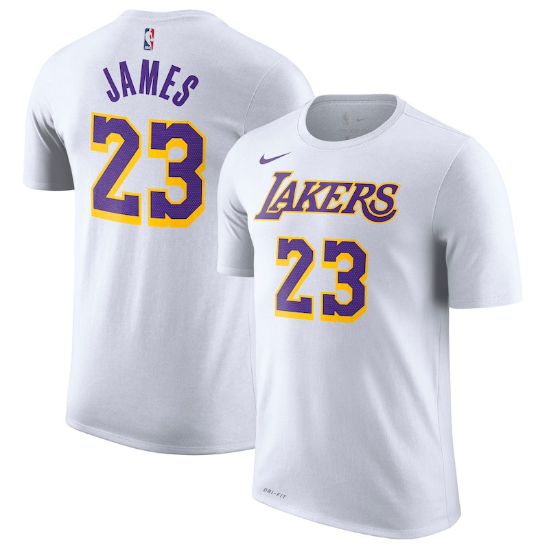bbe6fb8f7cd LeBron James Los Angeles Lakers Nike Association Edition Name   Number  Performance T-Shirt – White