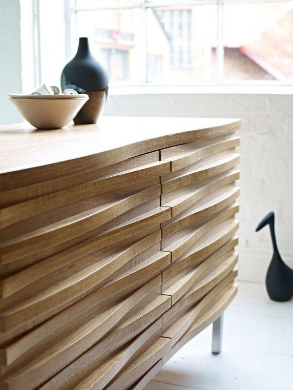 Walnut Finish | Light Wood | Closeup Detail | Sideboard Cabinet | Mid Century  Modern | Retro Furniture | Interior Design