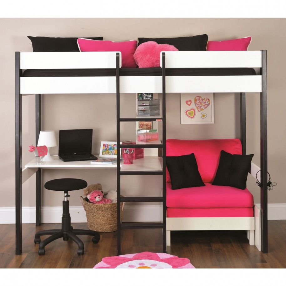 White Loft Bed With Desk And Sofabed
