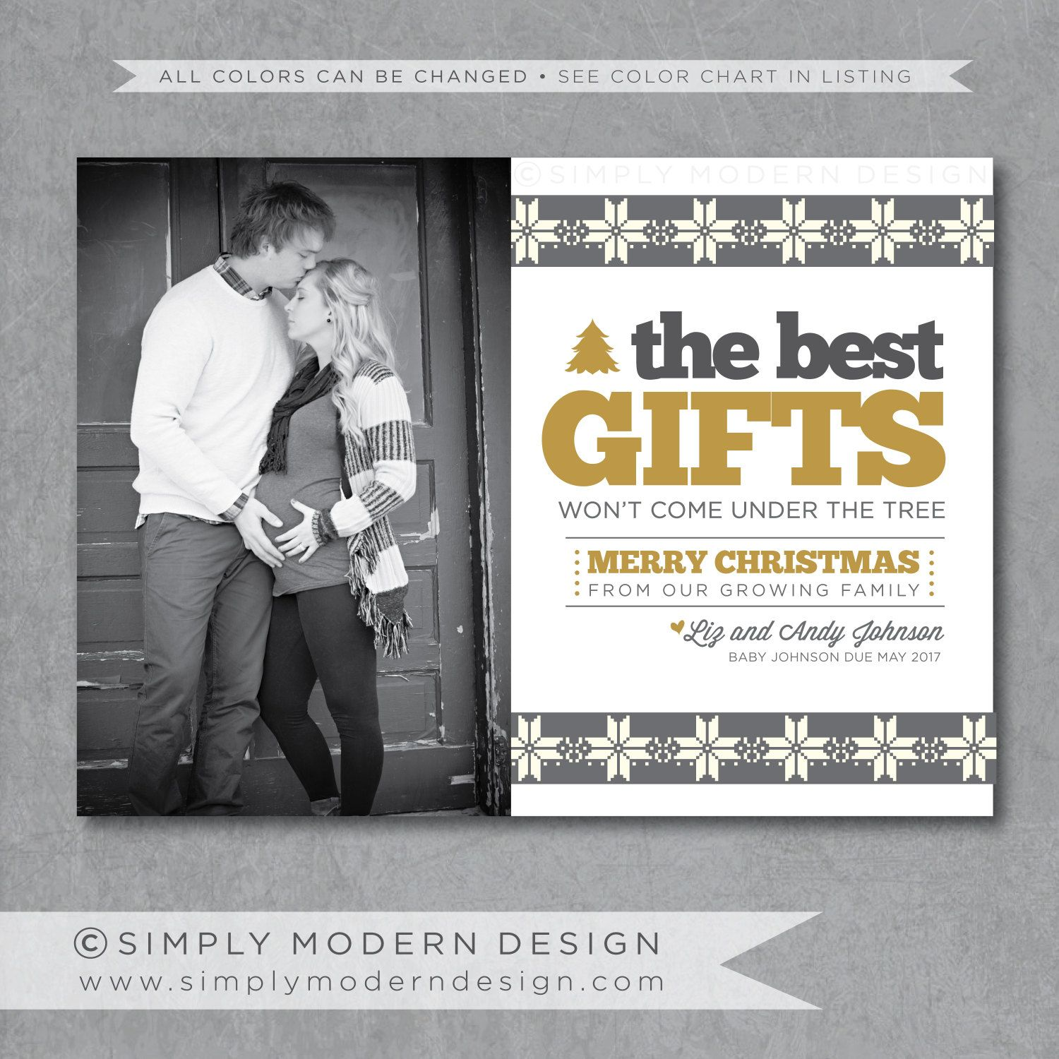 Holiday Christmas pregnancy announcement, card, the best gifts, don ...