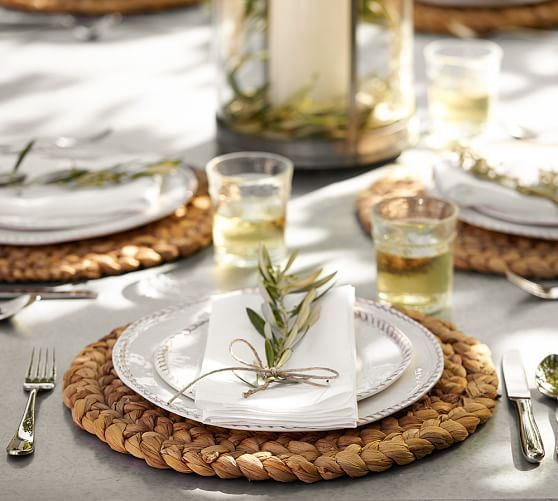 Dining Room Beautiful Placemats Dining Table Decor Brass Candle Holder White Plate Sets Round Table Vinyl Pla Pottery Barn Inspired Rope Crafts Diy Placemats