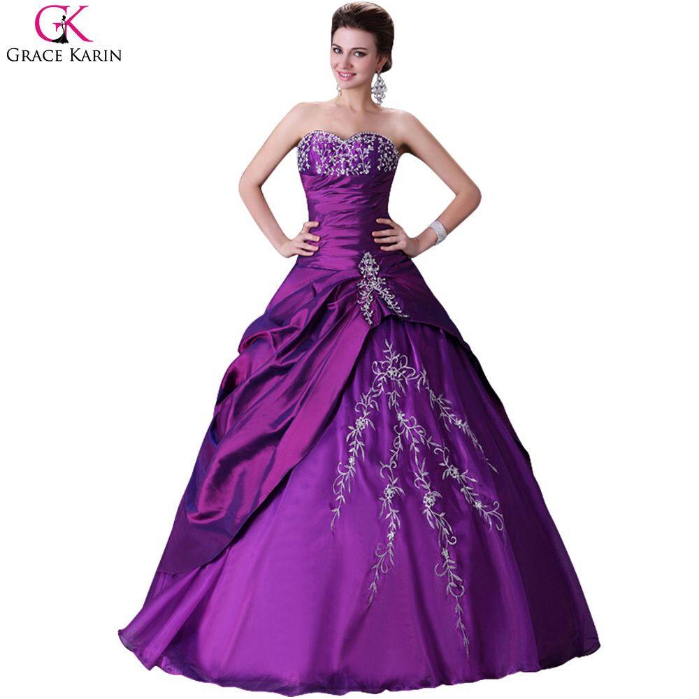 Gracia Karin Voile Puffy Quinceanera vestidos púrpuras largas ...