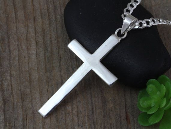Silver cross necklace large free shipping sterling silver cross mens necklace large sterling silver cross men sterling plain men cross necklace flat mens cross necklace classic cross jewelry r 5090 aloadofball Image collections