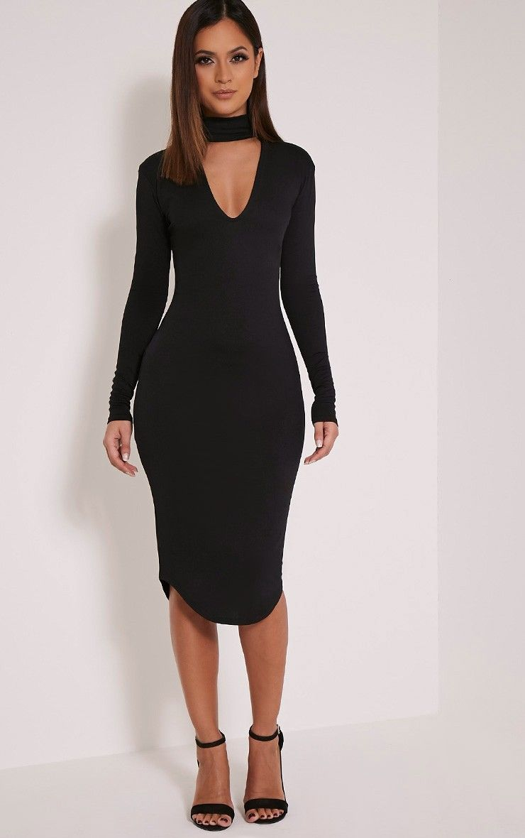 Black Sleeveless Peplum Jersey Midi Dress plus size 16,18,20,22,24 ...