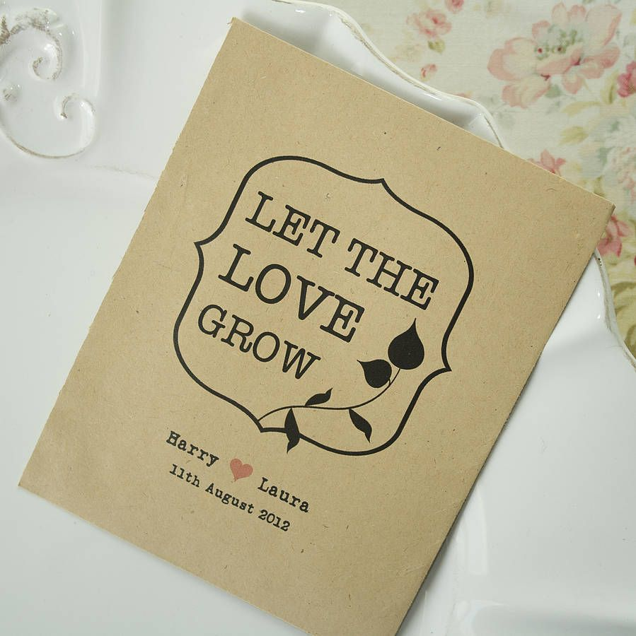 Let The Love Grow Seed Packet Favour By Wedding In A Teacup Notonthehighstreet