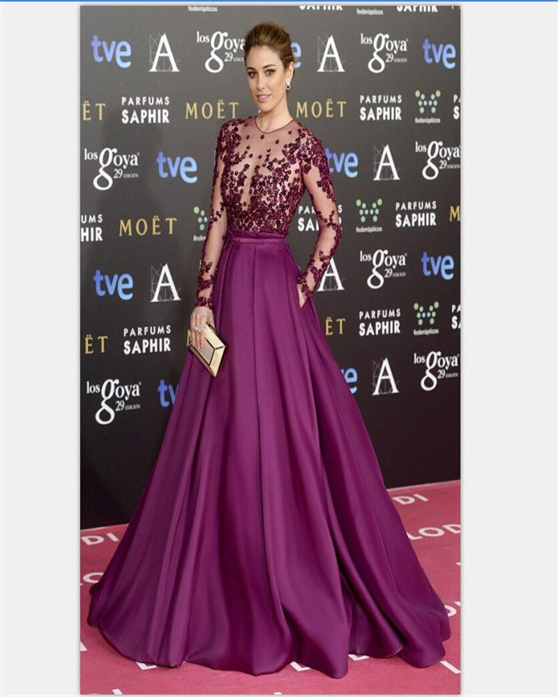 Aliexpress.com : Buy Silk Satin Long Purple Prom Dress Long Sleeves ...