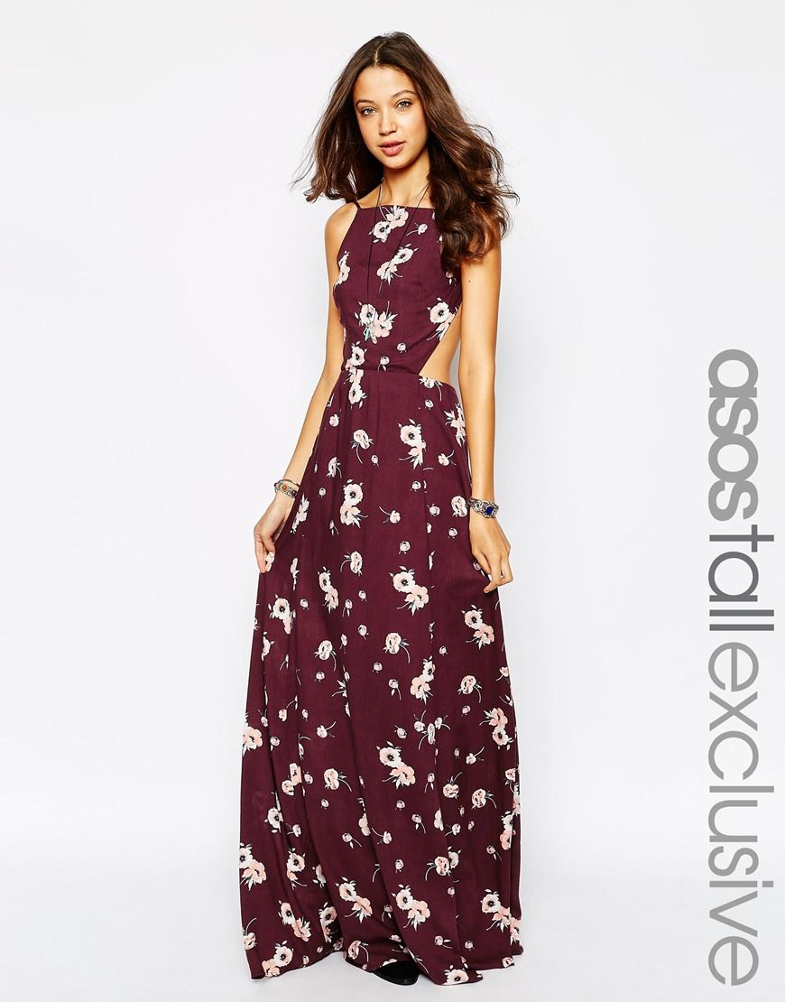 Image 1 of ASOS TALL Exclusive High Neck Floral Maxi Dress ...