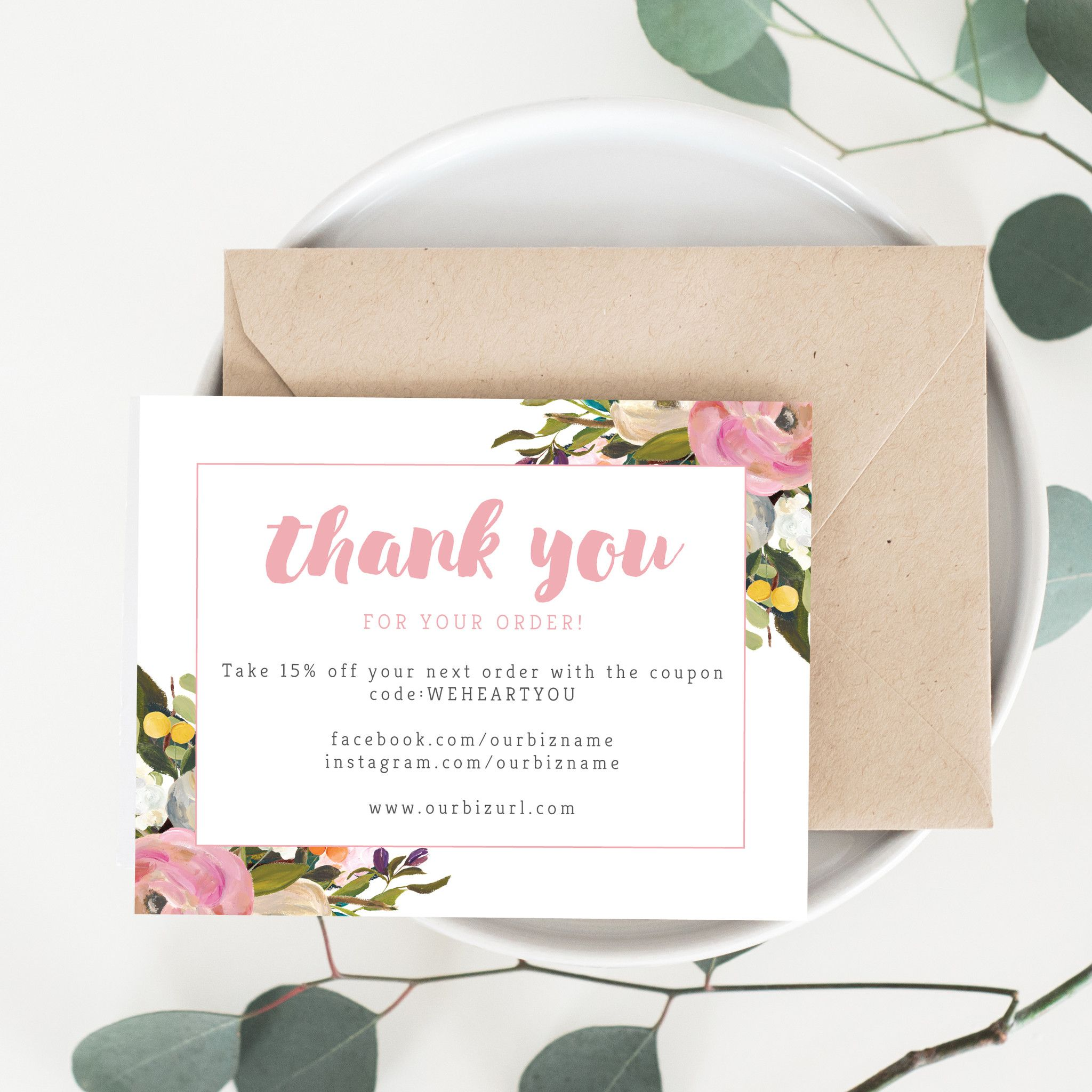 Printable Business Thank You Cards Template Olivia Computer - Business thank you card template