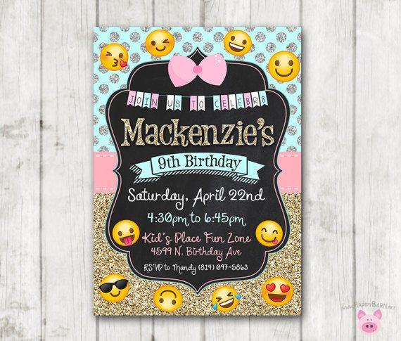 Printable Emoji Birthday Party Invitation Invitations Glitter Silver Gi