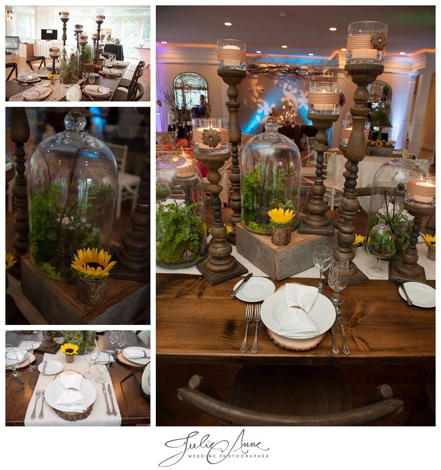 North Carolina Farm Wedding Kiersten Sam: Rustic Farm-table With Pine Cones, Sunflowers, And