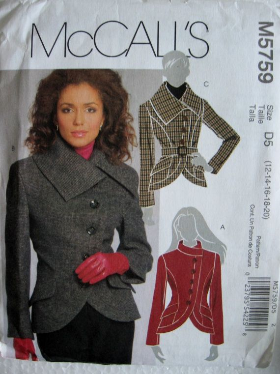 McCalls Misses Semi Fitted Lined Jacket and Belt by Vntgfindz