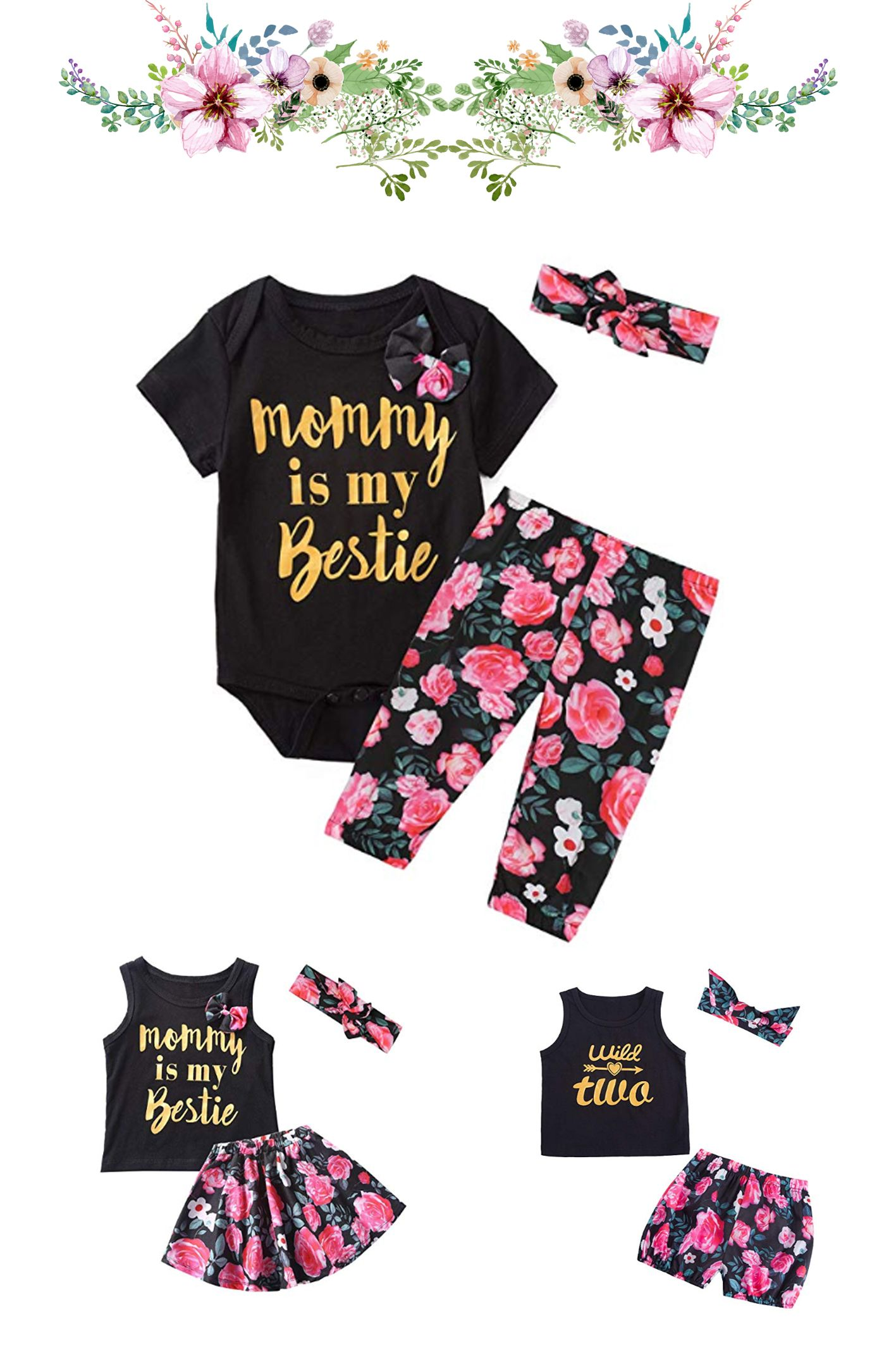 Infant Toddler Baby Girl Short Outfits Mommy is My Bestie Sleeveless Tops Floral Pants Headband Clothes