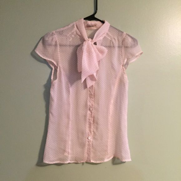 """Sheer Necktie Blouse Adorable sheer button up blouse with capsleeves. Has attached neck """"scarf"""" that you can tie how you'd like. Reposh item - it's a bit too small for me.  Please ask questions before purchasing. SALES ARE FINAL  BUNDLE DISCOUNTS SAME DAY SHIPPING ▫️OFFER BUTTON ONLY ▪️️NO HOLDS / TRADES / LOWEST ▪️NO LOWBALLS Tops Blouses"""
