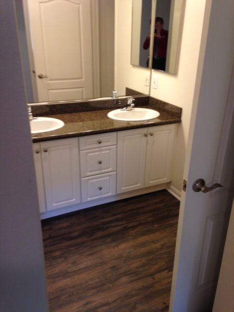 Superbe Pegasus 1 Master Bathroom With Dual Sinks, Granite Countertops, And NEW  Wood Style Flooring