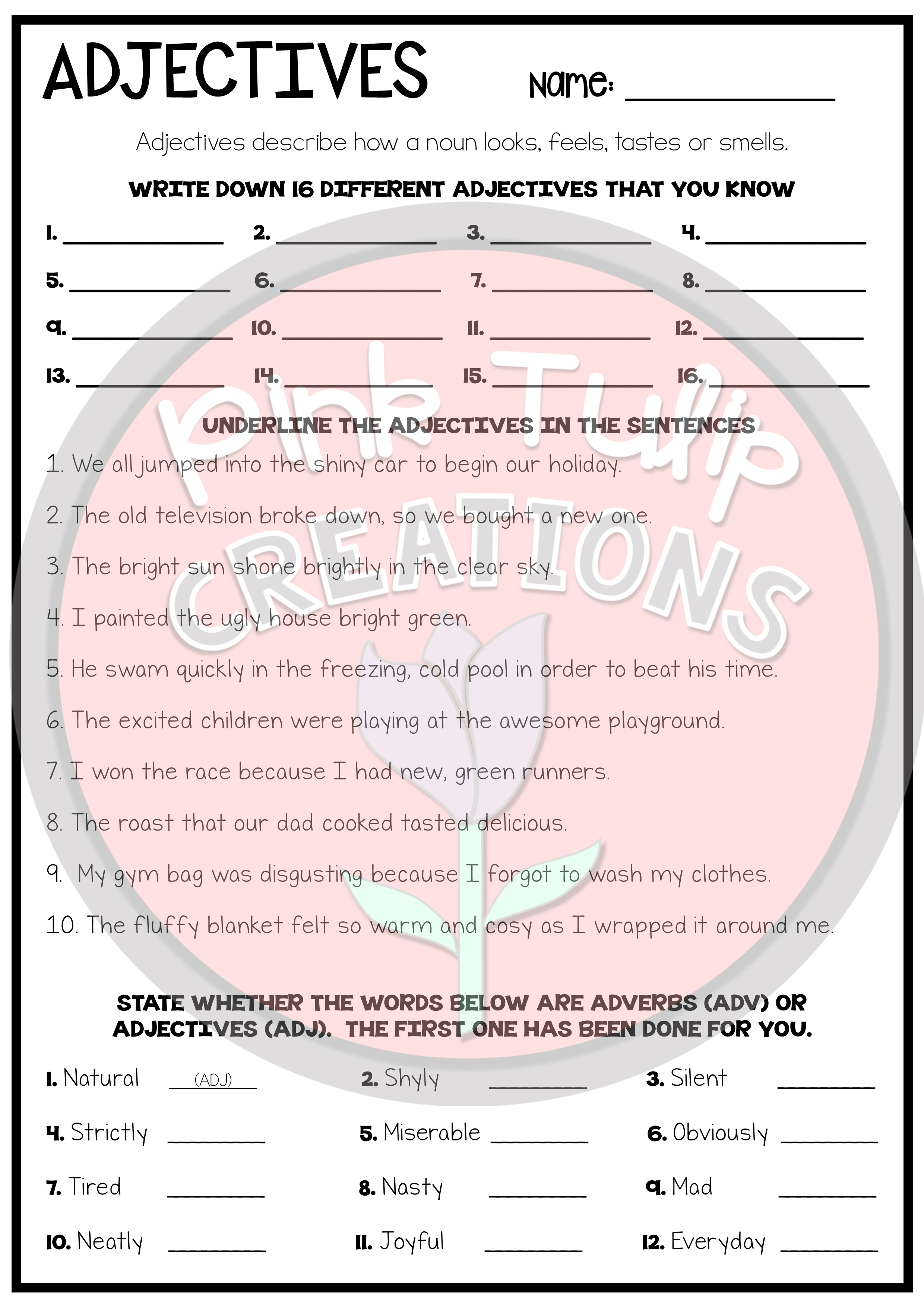 Understanding Adjectives Worksheets