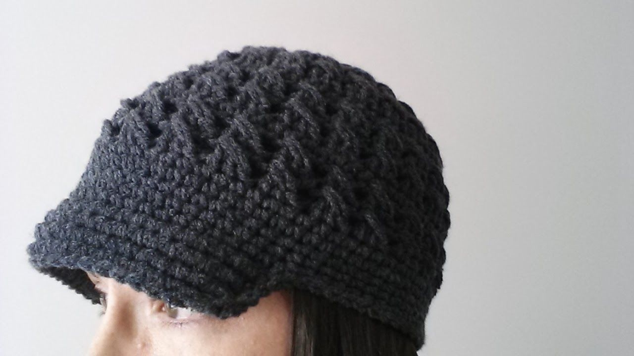 Ladies newsboy brimmed hat FREE PATTERN! | Crochet Hat n Ear warmer ...