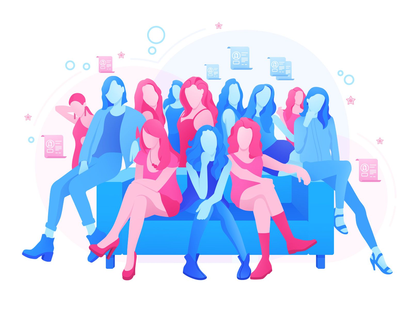 Girls Illustration Meet Girls Online Girl Online Meet Girls Live chat room girls