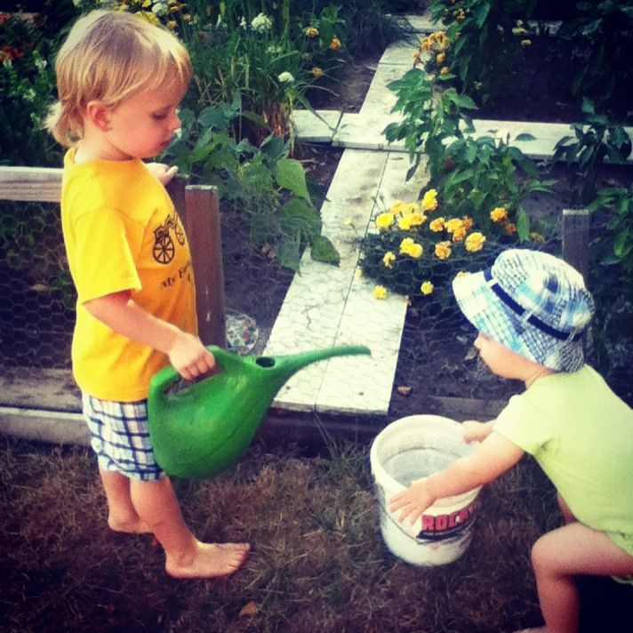 Missing our grand kids watering the garden... #garden #grandmas #water #grandkids #love #family #blessed #blessings #summer #brothers #daughters
