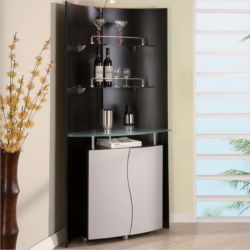 Corner Home Bar Ideas: Global Furniture USA Corner Home Bar Unit In Black And