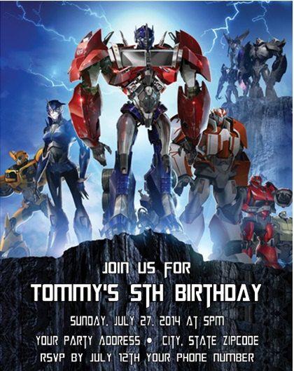Transformers Autobots Birthday Party Invitation Birthday Party
