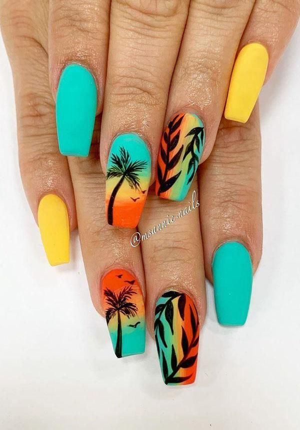 59 Amazing Palm Tree Nail Designs For Summer Palm Tree Nails Tree Nails Pretty Acrylic Nails