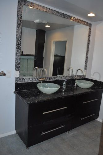 Double Sink Vanity With Round Bowls Marble Vanity And New Tile