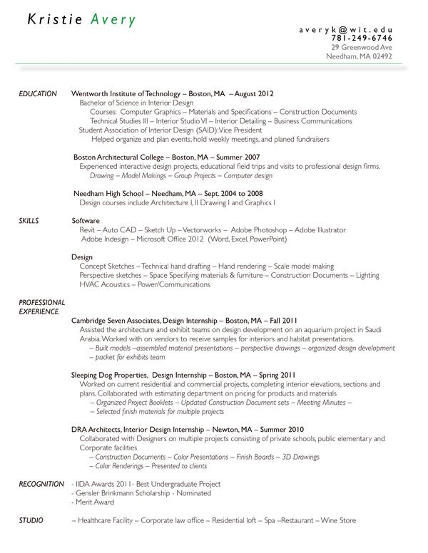 Resume by Kristie Avery, via Behance Design and job searching - resume for internship
