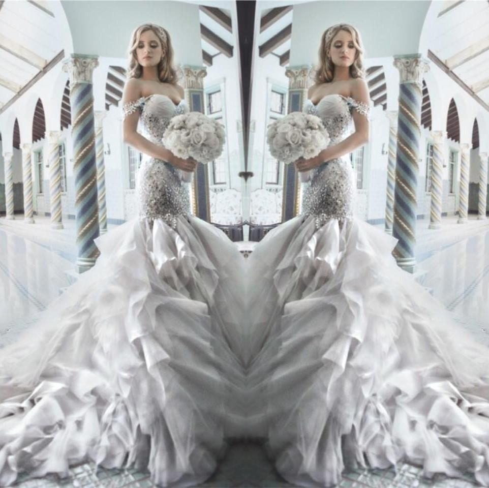 Pnina Tornai 2015 Rhinestone Mermaid Wedding Dresses With Sweetheart Off  Shouler Backless Crystal Tulle Luxury Chapel Train Bridal Gowns Hot  Beautiful Lace ... 42acf54f7bf2