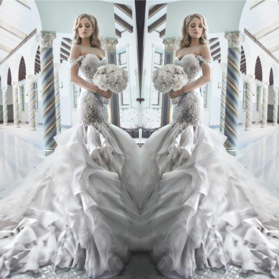 Pnina tornai 2015 rhinestone mermaid wedding dresses with for Mermaid style wedding dresses with bling