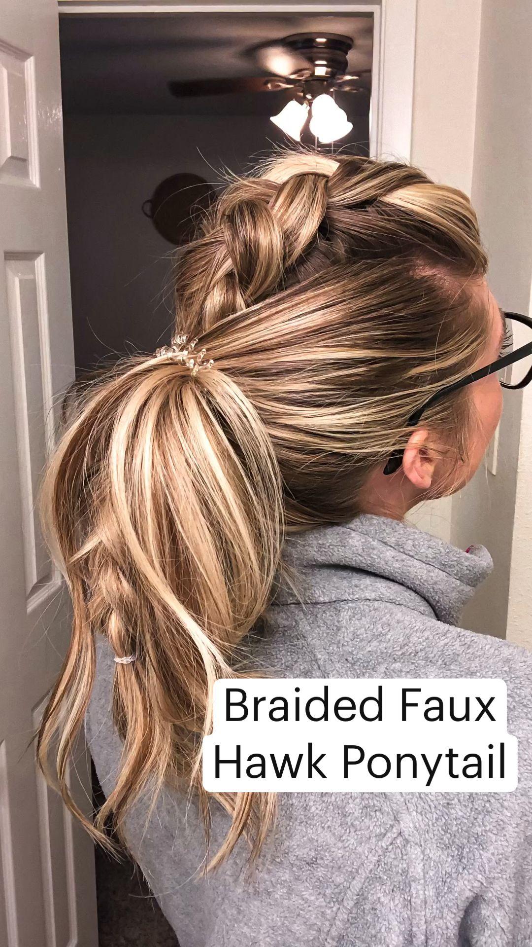 Braided Faux  Hawk Ponytail