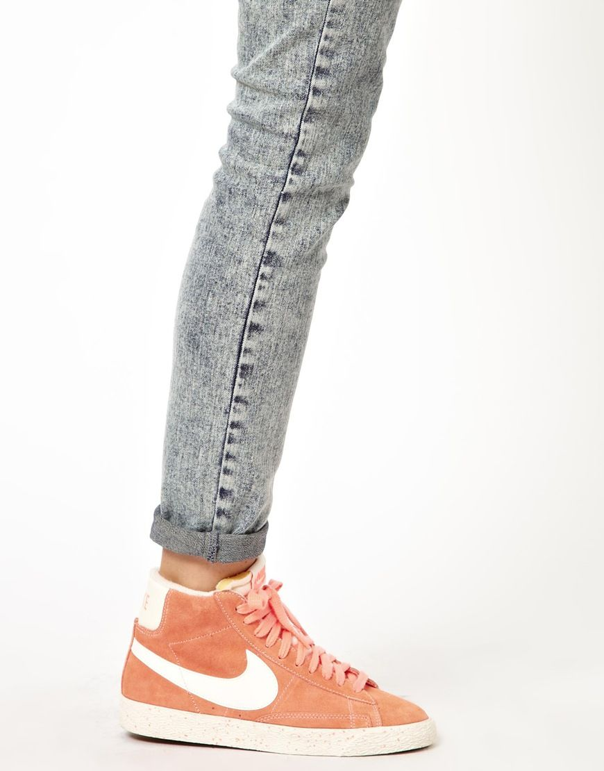 Nike | Nike Blazer Mid Orange High Top Sneakers at ASOS ...