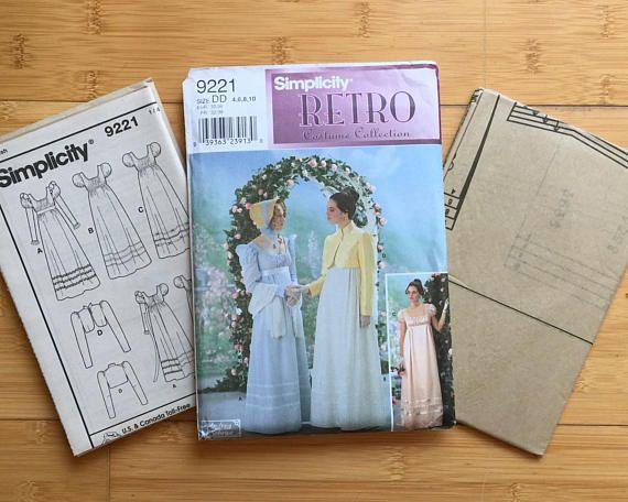Regency Edwardian Sz 4 6 8 10 Costume Dress Sewing Pattern Simplicity Retro Sewing Patterns Retro Costume
