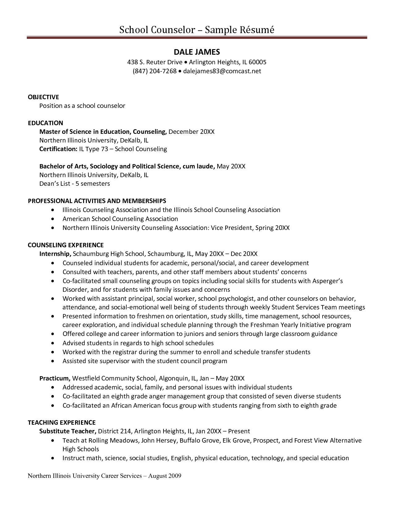 school counselor resume objective samples