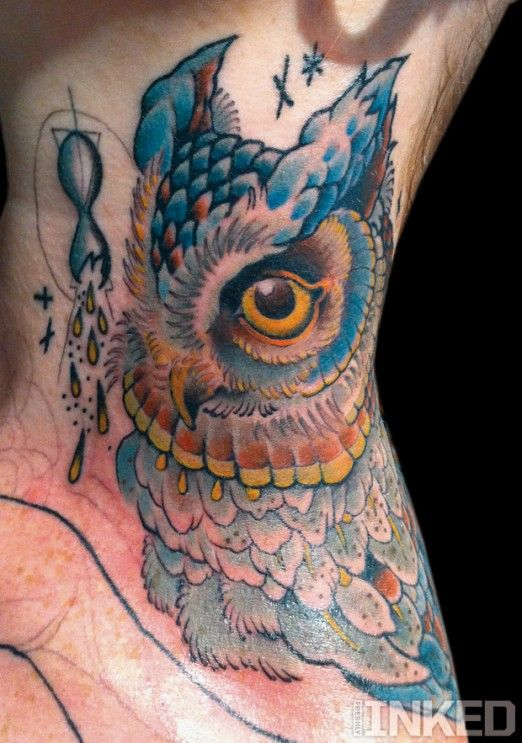 by Mike Moses | Owl neck tattoo, Neck tattoo, Animal tattoos