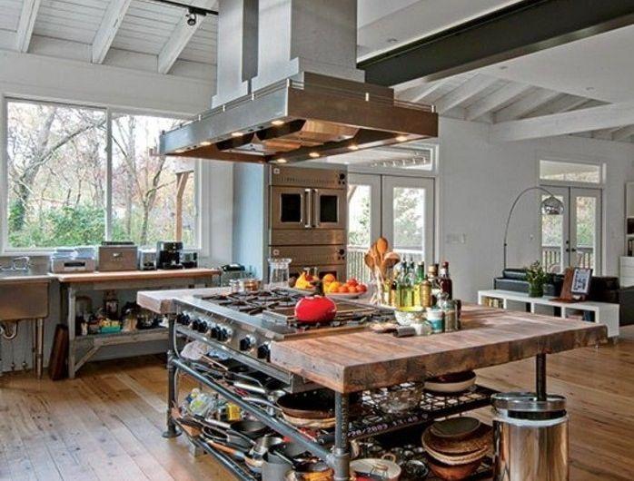 cuisine industrielle l 39 l gance brute en 82 photos exceptionnelles idees maison pinterest. Black Bedroom Furniture Sets. Home Design Ideas