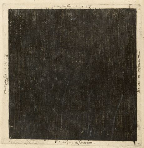 """The primordial darkness of the universe at the moment before creation, as represented in a plate in Robert Fludd's 1617 Utriusque Cosmi Maioris scilicet et Minoris Metaphysica, Physica, atque Technica Historia (The Metaphysical, Physical, and Technical History of the Two Worlds, Namely the Greater and the Lesser). The words Et sic in infinitum (""""and like this to infinity"""") are written on all four sides of the square. Courtesy Wellcome Photo Library."""