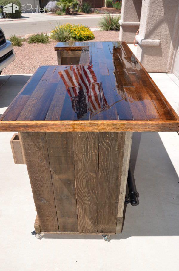 Genial Gorgeous Pallet Wood Rolling Bar DIY Pallet Bars