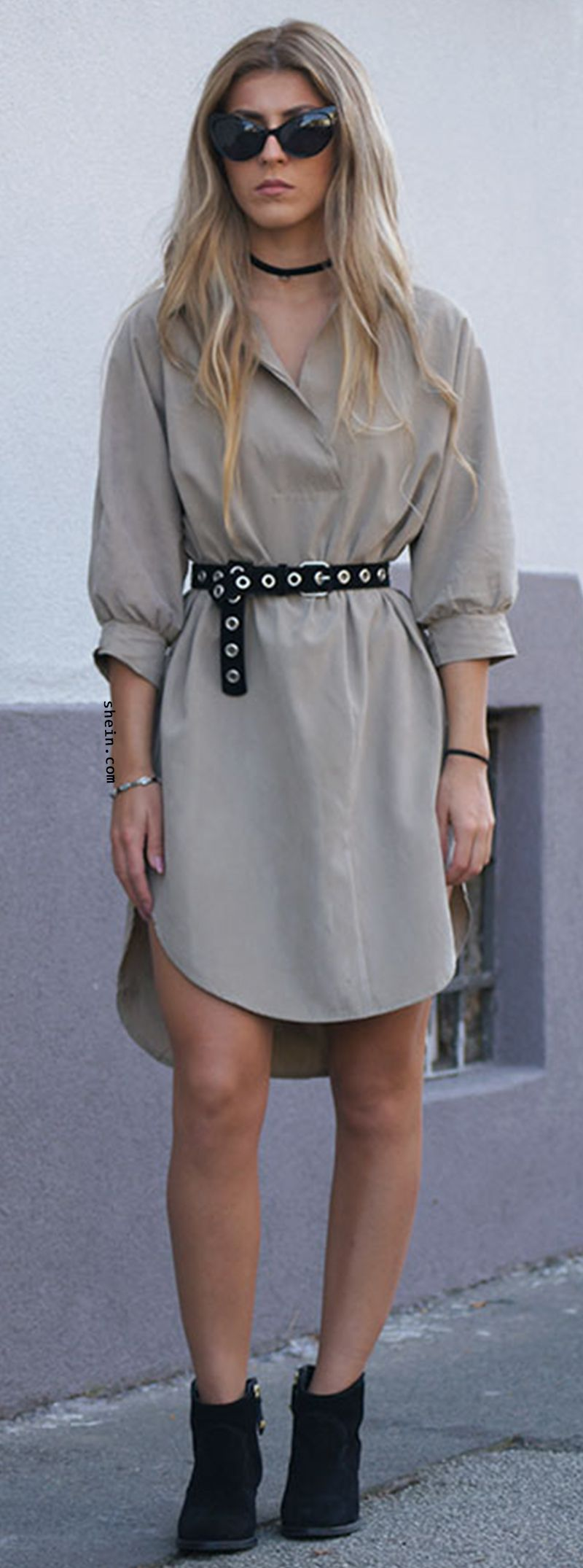 Love this shirt dress most for autumn. Self Tie Curved Hem High Low Shirt Dress. Fashion with detailed design!