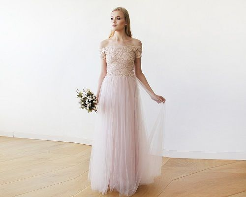 Lace off-shoulders short sleeves maxi blush tulle dress $234.00