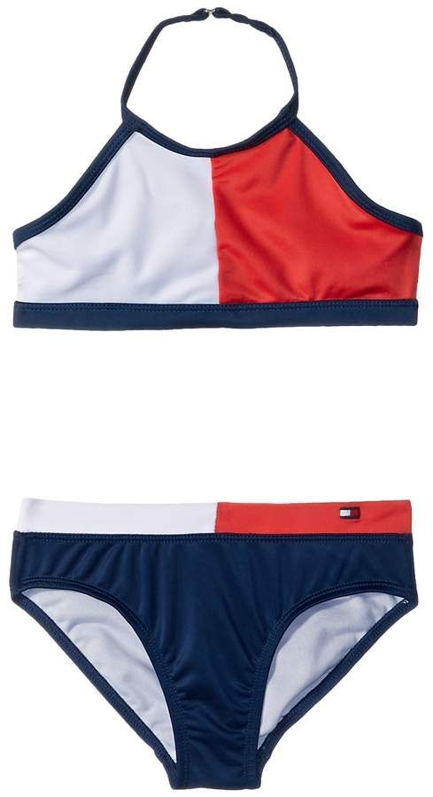 NWT Baby Girl/'s Ralph Lauren Blue and White 2-Piece Swimsuit