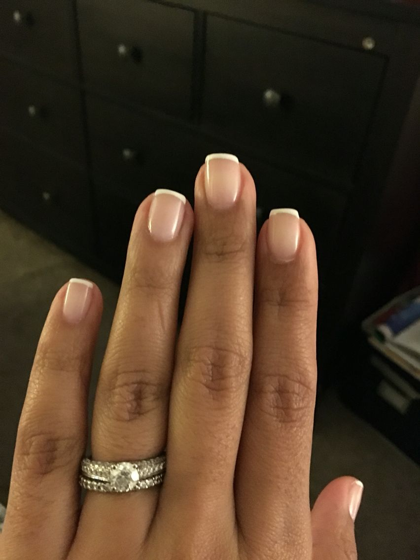 Thin line french manicure. I love how classy and simple it looks ...