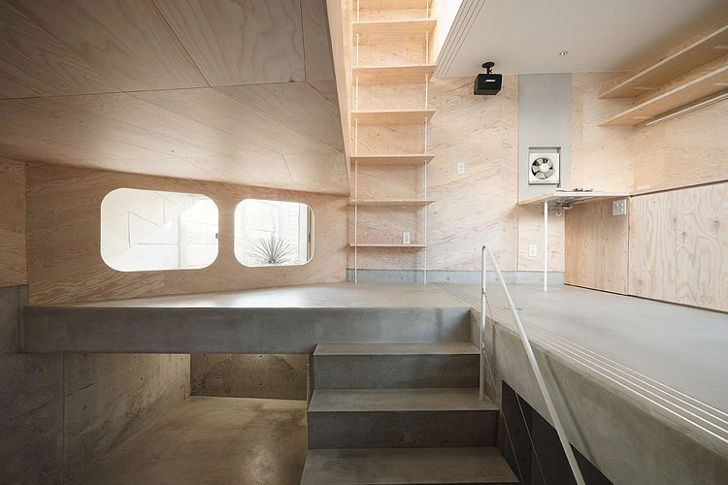 tiny tsubomi house is a multi-level residence that blooms atop a